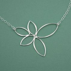 Floating Lotus Necklace - handmade yoga jewelry - pendant - 925 sterling silver - gift - christmas gift idea