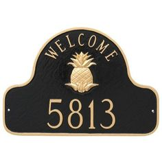 Montague Metal Products Pineapple Welcome Arch Address Sign Plaque Finish: Sand/Gold