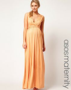 Asos Orange Asos Maternity Maxi Dress in Jersey with Grecian Drape Detail