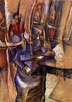 Interior with Two Female Figures by Italian artist Umberto Boccioni This painting is now held at the Castello Sforzesco in Milan. Italian Painters, Italian Artist, Umberto Boccioni, Figure Drawing Female, Italian Futurism, Futurism Art, A4 Poster, Posters, Oil Painting Reproductions