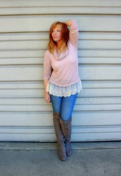 Fashion Fairy Dust style blog: lace trimmed sweater, floral bomber, otk boots