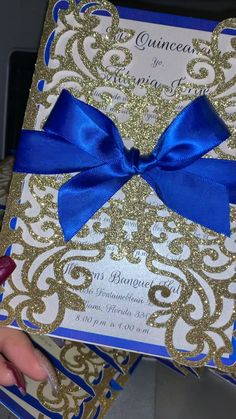 For the people that are dancing at your quince, write a note to them. # Quinceanera decorations Royal blue and gold laser cut invitations Quince Invitations, Sweet 16 Invitations, Blue Wedding Invitations, Cinderella Invitations, Gold Invitations, Wedding Stationery, Quinceanera Planning, Quinceanera Decorations, Quinceanera Party
