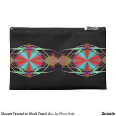 Elegant Fractal on Black Travel Accessory Bag