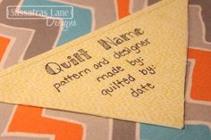 Sewology Sunday - Easy Quilt Label - Sassafras Lane Designs - featuring RAIN BASIC--no hand sewing needed Quilting Quotes, Quilting Tips, Free Motion Quilting, Quilting Tutorials, Quilting Projects, Quilting Designs, Sewing Projects, Modern Quilting, Hand Quilting