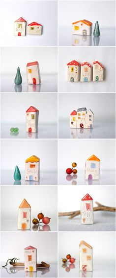 My Little clay houses in sunsine colors! Vitezartglassdesign