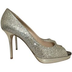Pre-owned Jimmy Choo Glitter Classic Wedding Silver Pumps ($375) ❤ liked on Polyvore featuring shoes, pumps, silver, silver shoes, jimmy choo shoes, open-toe pumps, pre owned shoes and glitter open toe pumps