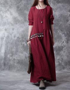 Cotton linen loose fitting cotton linen dress