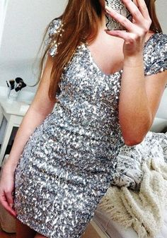 Silver Sequined Dress @huntermichellle this dress is only $20!