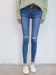 Blue Mid Waist Distressing Skinny Jeans