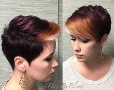 Cute, Pixie Haircut with Bangs - Ombre Balyage Highlight