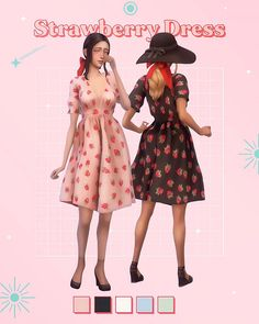 Strawberry Dress   Miiko on Patreon Sims 4 Cc Packs, Sims 4 Mm Cc, Sims Four, Sims 4 Mods Clothes, Sims 4 Clothing, Sims 4 Collections, Cute Dresses For Teens, Sims 4 Dresses, Teen Dresses