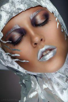 Tatyana Zolotashko Makeup Artist   Silver Lips #avant garde