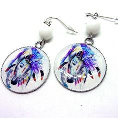 Boucles d'oreilles cabochons résine 25mm motif cheval esprit ethnique, indien