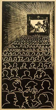 Wild West - Artist: M.C. Escher Completion Date: 1920 Style: Surrealism Genre: genre painting Technique: woodcut Dimensions: 35.7 x 17.5 cm