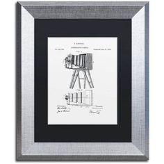 Trademark Fine Art Photographic Camera Patent 1885 White Canvas Art by Claire Doherty Black Matte, Silver Frame, Size: 11 x 14, Multicolor