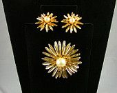 Vintage Brooch and Clip On Earring Demi Parure Set PATENT PENDING