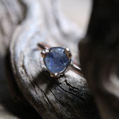 Raw Blue Sapphire Engagement Ring Rose Gold by NangijalaJewelry, $558.00