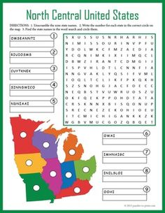 Help students learn the names and locations of the north central US with this combo puzzle worksheet. Puzzlers have to unscramble state names, locate them on a map, and find them in a word search. Maybe use this as a treat for early finishers. Geography Worksheets, Geography Activities, Geography For Kids, Social Studies Worksheets, Teaching Geography, World Geography, School Worksheets, Learning Activities, Activities For Kids