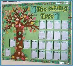 I love The Giving Tree! The Giving Tree Bulletin Board Display Shel Silverstein Free Leaf Templates, Worksheets, Teaching Resources Classroom Displays, Classroom Fun, Classroom Activities, Book Activities, Future Classroom, Morning Activities, Classroom Board, Library Displays, Christmas Activities