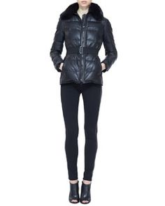 -525G Burberry London Leather Fur-Collar Puffer Jacket and Side-Stripe Leather Leggings