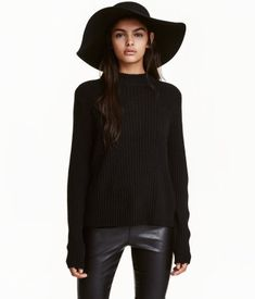 af7ed9ac Black. Long-sleeved mock turtleneck sweater in a soft rib knit. Slightly  wider
