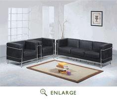 Baxton Studio Black Le Corbusier Petite Sofa and 2 chairs 610-Set-BK