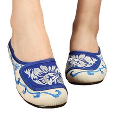 Old Beijing Cloth Embroidered Shoes Flax Slippers