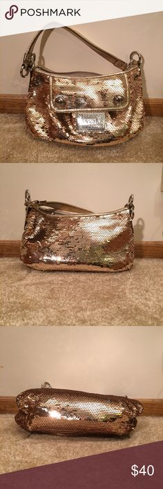 Gold sequin Coach mini bag. Gold sequin Coach mini bag. Coach Bags Mini Bags