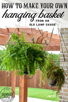 Looking for an unusual outdoor hanging basket for your favorite patio plants? This vintage lampshade makes the perfect hanging basket and is a simple upcycle for your porch. Diy Hanging, Hanging Baskets, Hanging Plants, Indoor Plants, Potted Plants, Cool Diy Projects, Outdoor Projects, Outdoor Ideas, Craft Projects