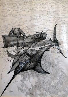 Sea Tattoo, Ocean Tattoos, Body Art Tattoos, Sleeve Tattoos, Sea Illustration, Ink Illustrations, Octopus Art, Fish Art, Swordfish Tattoo