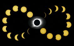 Solar eclipse at Novosibirsk, Russia. An artistic synthesis displaying the various phases of the eclipse.