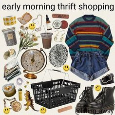 ropa Striped sweater and jean shorts Hippie Outfits, Retro Outfits, Fall Outfits, Vintage Outfits, Casual Outfits, Cute Outfits, Aesthetic Fashion, Look Fashion, Aesthetic Clothes