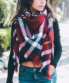 This Red & Navy Classic Plaid Blanket Scarf by Leto Collection is perfect! Plaid Scarf Outfit, Tartan Blanket Scarf, Scarf Outfits, Red And Black Plaid, Fashion Essentials, Style Essentials, Tartan Plaid, Scarf Styles, Womens Scarves