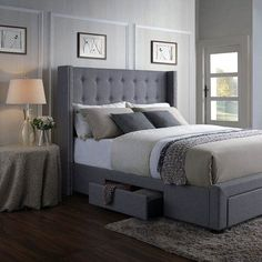 Darby Home Co Llanes Savoy Upholstered Storage Panel Bed Size: King, Color: Gray Lit Queen Size, Simple Bedroom Design, Platform Bed With Storage, Upholstered Platform Bed, Tufted Bed, Awesome Bedrooms, Cool Beds, Guest Bedrooms, Small Rooms
