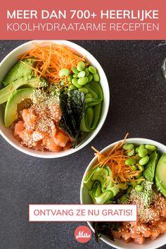 Low Carb Recipes, Healthy Recipes, Keto Cupcakes, Poke Bowl, Low Fodmap, Seaweed Salad, Vegan, Dinner, Ethnic Recipes
