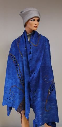 Felted shawl  Blue denim by doseth on Etsy, €64.00 - like the embellishment on this