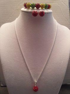 Handmade 925 Stamped Silver Red Swarovski Crystal Ball Necklace Earrings & Bracelet Set