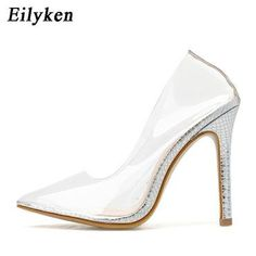 Eilyken Clear PVC Transparent Pumps Sandals Perspex Crystal High Heels Stilettos Point Toes Party Silver Pumps Womens Shoes size Brand Name: EilykenUpper Material: PVCHeel Height: Super High Type: BasicHeel Type: Thin HeelsLining Material: N High Heels Gold, Wedding High Heels, Sexy High Heels, High Heels Stilettos, Womens High Heels, Women's Pumps, Pump Shoes, Shoes Heels, Silver Pumps