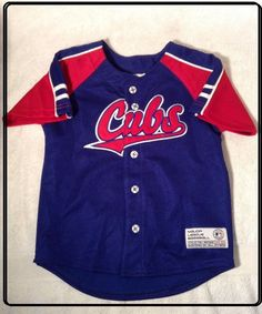 3fa0f198830 EXC+ SIZE Toddler 4T OFFICIAL CHICAGO CUBS BUTTON UP JERSEY SHIRT  TrueFan   ChicagoCubs