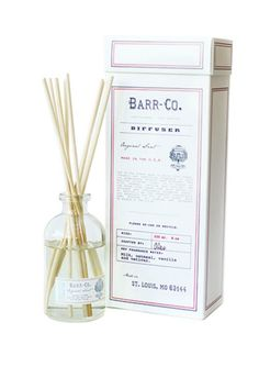 Created by Kelley Hall-Barr and her husband John, Barr-Co. prides itself on creating eco-friendly, quality goods in small batches. Each original scent comes in a pretty, reusable package - think glass bottles, muslin bags and lidded tins - scripted with classic Americana typography. This diffuser is scented with milk, vanilla, oatmeal and a clean scent.   Reed Diffuser by Barr-Co.. Home & Gifts - Gifts - Scents & Bath San Francisco