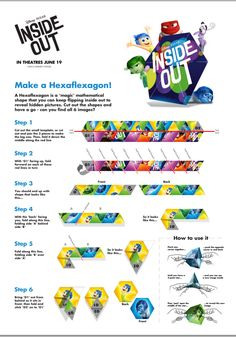 Make a Hexaflexagon - Disney Pixar Inside Out Activity Sheets Pixar Inside Out, Movie Inside Out, Disney Inside Out, Craft Activities For Kids, Therapy Activities, Youth Activities, Craft Ideas, Disney Pixar, Disney Movies