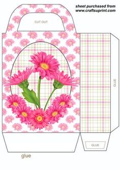 Pink gerbra gift bag on Craftsuprint designed by Stephen Poore - Pink gerbra gift bag,you will need to print 2 sheets to make gift bag - Now available for download!