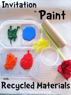 Learn with Play at home: Invitation to Paint with Recycled Materials  Love this site! filled with great preschool activities