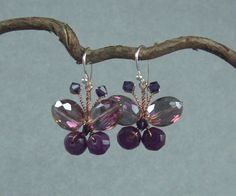 butterfly drop earring faceted glass beads purple wedding