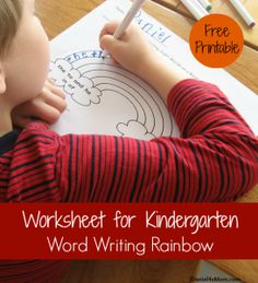 Worksheet for Kindergarten- Writing Words on a Rainbow