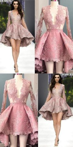 Stylish A-Line Deep V-Neck Long Sleeves High Low Pink Homecoming Dress homecominng,homecoming dresses,short homecoming dress,homecoming 2017 Sexy Homecoming Dresses, Hoco Dresses, Pretty Dresses, Beautiful Dresses, Dresses With Sleeves, Evening Dresses, Dresses Short, Fancy Dress Short, Designer Dresses