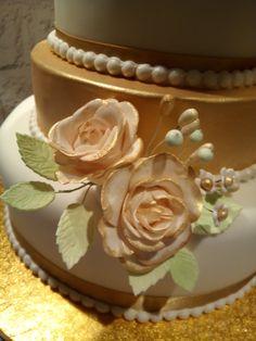 flower paste roses for Golden Wedding cake Wedding Cakes, Roses, Flower, Desserts, Food, Tailgate Desserts, Meal, Pink, Wedding Pie Table