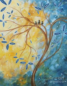 Abstract Landscape Bird Painting Original Art Blue Steel 2 By Megan Duncanson Painting