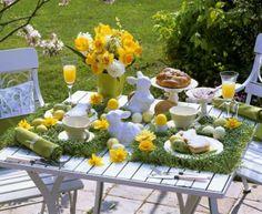 пасхальная сервировка в желтом цвете