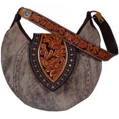Roan Cowhide Hobo Purse HMH12 ($400) ❤ liked on Polyvore featuring bags, handbags, shoulder bags, purses, studded shoulder bag, shoulder handbags, brown hobo purse, studded handbags and brown handbags